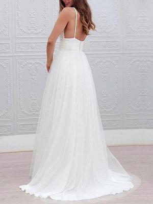 Vintage Wedding Dresses 2021 A Line V Neck Straps Backless Tulle Beach Wedding Bridal Dress_2