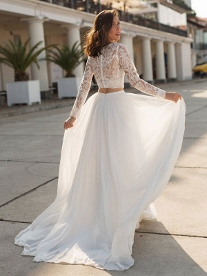 White Cheap Wedding Dress Chiffon V-Neck Long Sleeves Cut Out A-Line Split Lace Wedding Gowns_4