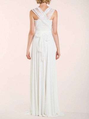 Simple Wedding Gowns Sheath V Neck Sleeveless Pleated Floor Length With Train Lace Wedding Dresseses_6