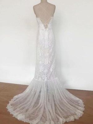 Boho Wedding Dress 2021 Lace A Line Halter Sleeveless Floor Length Bridal Gown With Train_6
