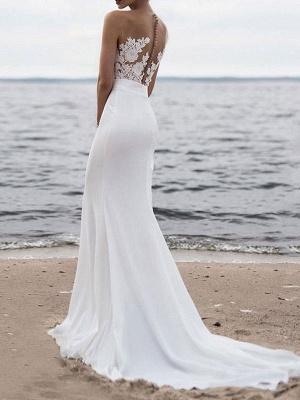 Wedding Dresses 2021 Jewel Neck Sleeveless Mermaid Beach Wedding Bridal Gowns With Sweep Train_2