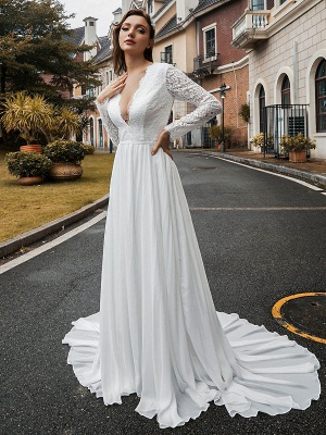 Vintage Wedding Dress Chiffon V Neck Long Sleeves Lace A Line Bridal Gowns With Train_2