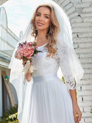 White Simple Wedding Gowns Lace Jewel Neck Lace Chiffon Half Sleeves Natural Waist A-Line Bridal Gowns_3