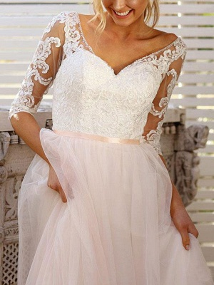 Wedding Gowns A Line V Neck Half Sleeves Lace Tulle Bridal Gowns With Train_4
