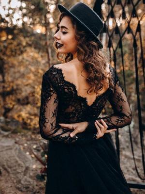 Black Bridal Dresses A-Line Designed Neckline Long Sleeves Natural Waistline Tulle Lace Sweep Bridal Gown_2