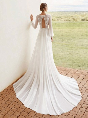 Ivory Simple Wedding Dress With Train A Line V Neck Long Sleeves Lace Bridal Gowns_3
