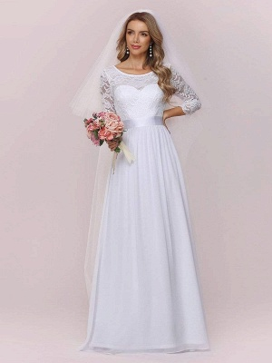 White Simple Wedding Gowns Lace Jewel Neck Lace Chiffon Half Sleeves Natural Waist A-Line Bridal Gowns_5