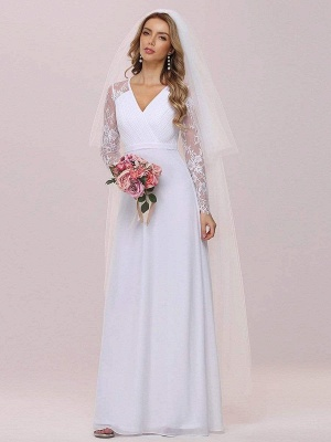 White Simple Wedding Dress Lace V-Neck Long Sleeves Lace Chiffon Pleated A-Line Long Bridal Gowns_6