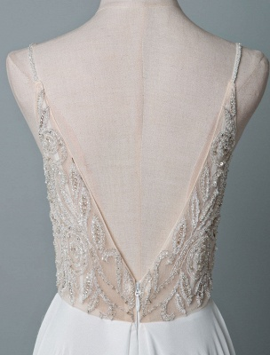 Simple Wedding Gowns A Line V Neck Sleeveless Embroidered Chiffon Bridal Gowns With Train_6