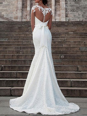 Wedding Dresses Lace Illusion Neck Long Sleeves Mermaid Bridal Gowns With Court Train_2