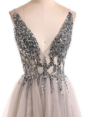 Boho Wedding Dress 2021 A Line Deep V Neck Sleeveless Straps Split Front Floor Length Prom Dresses_5