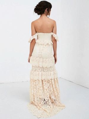Boho Wedding Dress 2021 Off The Shoulder Floor Length Multilayer Lace Wedding Gowns_7