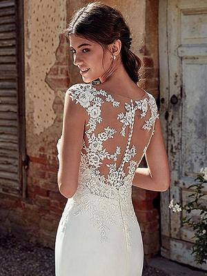 White Cheap Wedding Dresses White Chiffon Illusion Neckline Sleeveless Court Train Applique Sheath Bridal Gowns_4