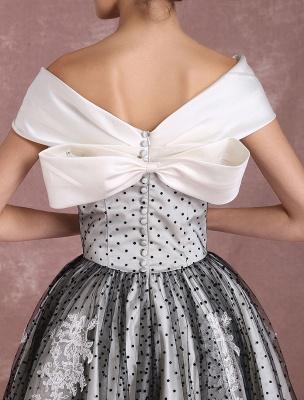 Black Wedding Dresses Vintage Short Bridal Gown Lace Off The Shoulder Polka Dot Print Bridal Dress With Bow At Back Exclusive_9