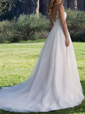 Wedding Dresses A Line V Neck Sleeveless Lace Beach Party Bridal Gowns With Train_2