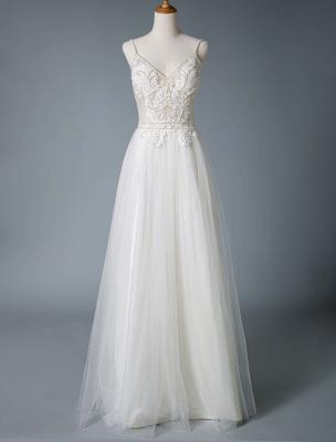 Wedding Gowns A Line V Neck Sleeveless Straps Beaded Floor Length Polka Dot Tulle Bridal Gowns_4