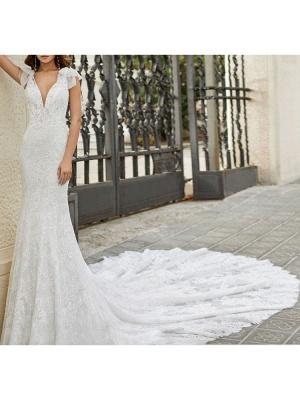 Wedding Dress With Train Mermaid Dress Sleeveless Lace V Neck Long Bridal Gowns_2