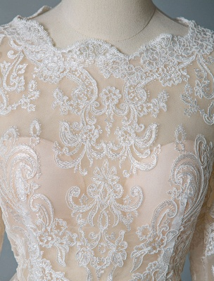 Boho Bridal Dresses 2021 Jewel Neck Long Sleeve A Line Floor Length Chffion Bridal Dress For Beach Wedding_8