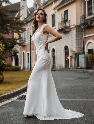 Wedding Bridal Gowns Jewel Neck Sleeveless Natural Waist Buttons Court Train Bridal Gowns Exclusive_4