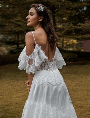 Boho Wedding Gowns Lace A-Line V-Neck Natural Waistline Beaded Wedding Gown_6