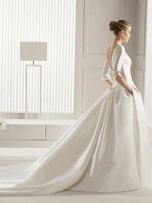 Bridal Dresses A-Line Chapel Bateau Neck Train 3/4 Length Sleeves Bows Satin Fabric White Bridal Dresses_2