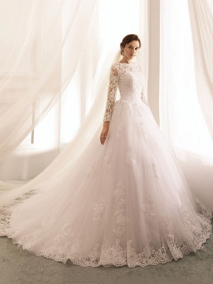 Bridal Dresses 2021 Princess Silhouette Bateau Neck Long Sleeve Natural Waist Lace Tulle Wedding Gowns_2