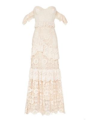 Boho Wedding Dress 2021 Off The Shoulder Floor Length Multilayer Lace Wedding Gowns_8
