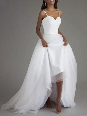 Vintage Wedding Dress Tulle Sweetheart Neck Sleeveless Sash A Line Bridal Gowns_2