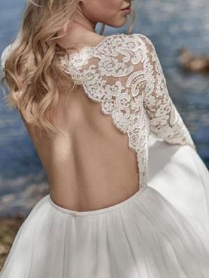 Boho Bridal Dresses 2021 Jewel Neck Long Sleeve A Line Floor Length Chffion Bridal Dress For Beach Wedding_2