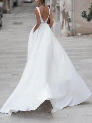Vintage Wedding Dress A Line V Neck Sleeveless Sash Floor Length Bridal Gowns With Train_2