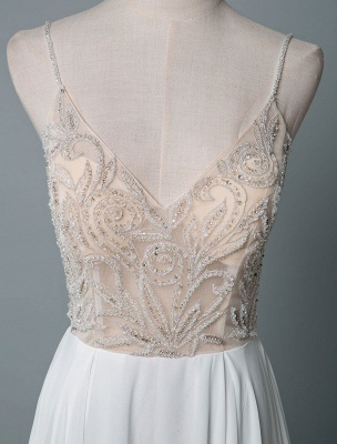 Simple Wedding Gowns A Line V Neck Sleeveless Embroidered Chiffon Bridal Gowns With Train_4