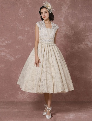 Short Wedding Dress Lace Champagne Vintage Bridal Dress Ball Gown Beading Backless Tea-Length Bridal Gown With Sash Exclusive_4