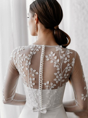 White Cheap Wedding Dresses A-Line Illusion Neckline Long Sleeves Pearls Trainsatin Fabric Lace Bridal Gowns_5