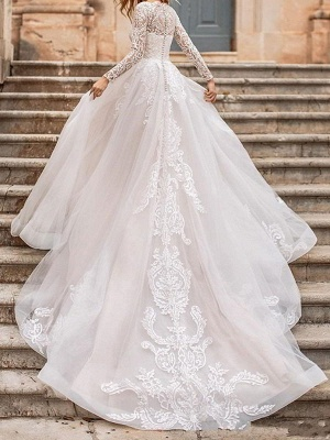 White Wedding Dress A Line Illusion Neckline Long Sleeves Applique With Chapel Train Bridal Gowns_2