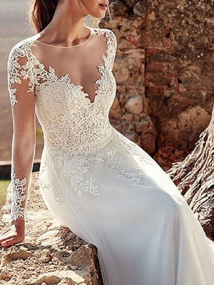 Wedding Dresses 2021 V Nevk A Line Long Sleeve Floor Length Lace Applique Tulle Bridal Gowns With Train_3
