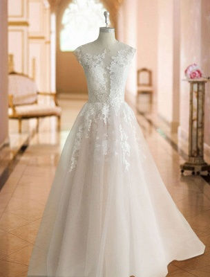 Wedding Dresses 2021 Princess Silhouette Jewel Neck Sleeveless Natural Waist Lace Soft Pink Tulle Bridal Gowns_3
