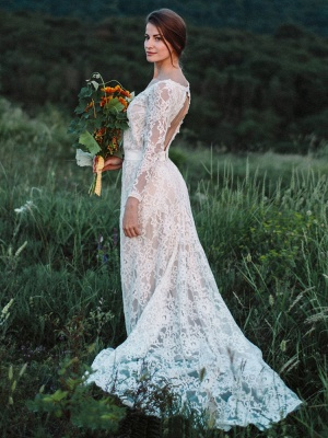 Wedding Gowns With Train A-Line Long Sleeves V-Neck Ivory Lace Bridal Gowns_2