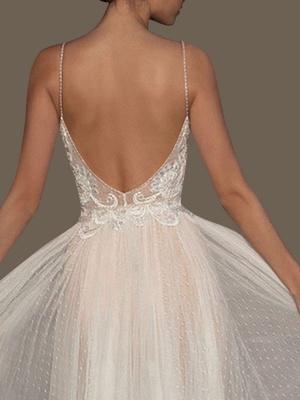 Wedding Gowns A Line V Neck Sleeveless Straps Beaded Floor Length Polka Dot Tulle Bridal Gowns_3