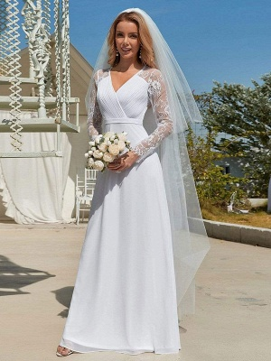 White Simple Wedding Dress Lace V-Neck Long Sleeves Lace Chiffon Pleated A-Line Long Bridal Gowns_2