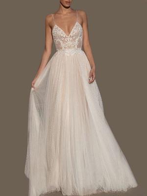 Wedding Gowns A Line V Neck Sleeveless Straps Beaded Floor Length Polka Dot Tulle Bridal Gowns_1