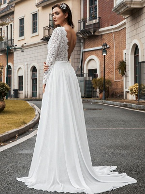 Vintage Wedding Dress Chiffon V Neck Long Sleeves Lace A Line Bridal Gowns With Train_3
