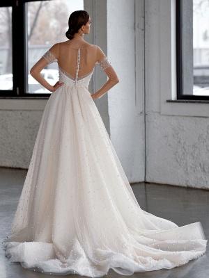 White Wedding Dress A-Line Wedding Gowns Beaded Tulle Wedding Dress_2