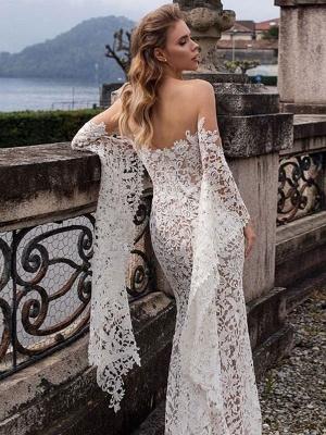 Lace Wedding Dress Mermaid Wedding Dress V Neck Long Sleeve Sexy Bridal Gowns_2