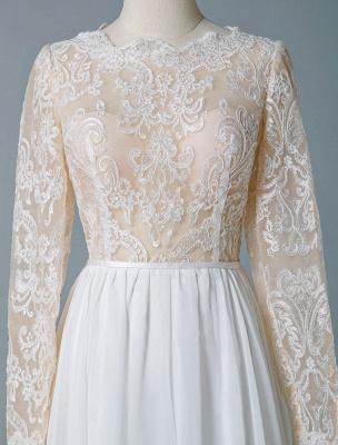 Boho Bridal Dresses 2021 Jewel Neck Long Sleeve A Line Floor Length Chffion Bridal Dress For Beach Wedding_7