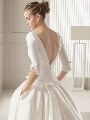 Bridal Dresses A-Line Chapel Bateau Neck Train 3/4 Length Sleeves Bows Satin Fabric White Bridal Dresses_4