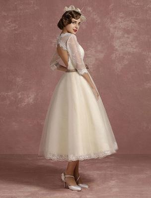 Vintage Wedding Dress Short Lace Tulle Bridal Dress Half Sleeve V Neck Backless A Line Flower Sash Tea Length Bridal Gown Exclusive_1