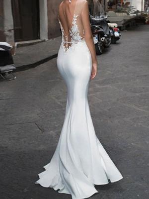 White Wedding Bridal Gowns Floor Length Sleeveless Applique Illusion Neckline Bridal Mermaid Dress Evening Gown_2