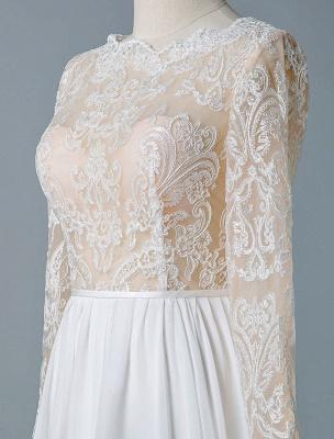 Boho Bridal Dresses 2021 Jewel Neck Long Sleeve A Line Floor Length Chffion Bridal Dress For Beach Wedding_6