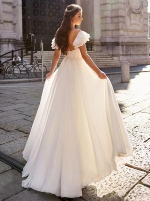 Cheap Wedding Dress A Line Off The Shoulder Natural Waistline Chiffon Wedding Gowns_2