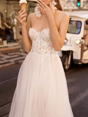 Vintage Wedding Dress Tulle Sweetheart Neck Sleeveless A Line Lace Flora Bridal Gowns With Train_3